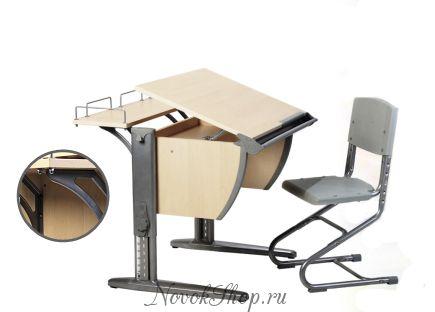 Стол детский ДЭМИ + стул (с полкой для монитора) 14-01